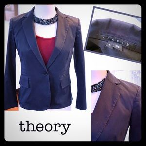THEORY navy blue 1 button closure cropped blazer